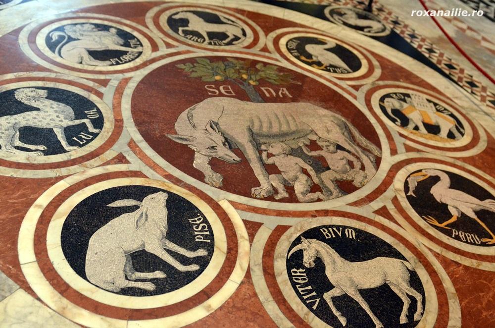 Lupoaica, simbolul Sienei, un mozaic impresionant pe pavimentul Domului